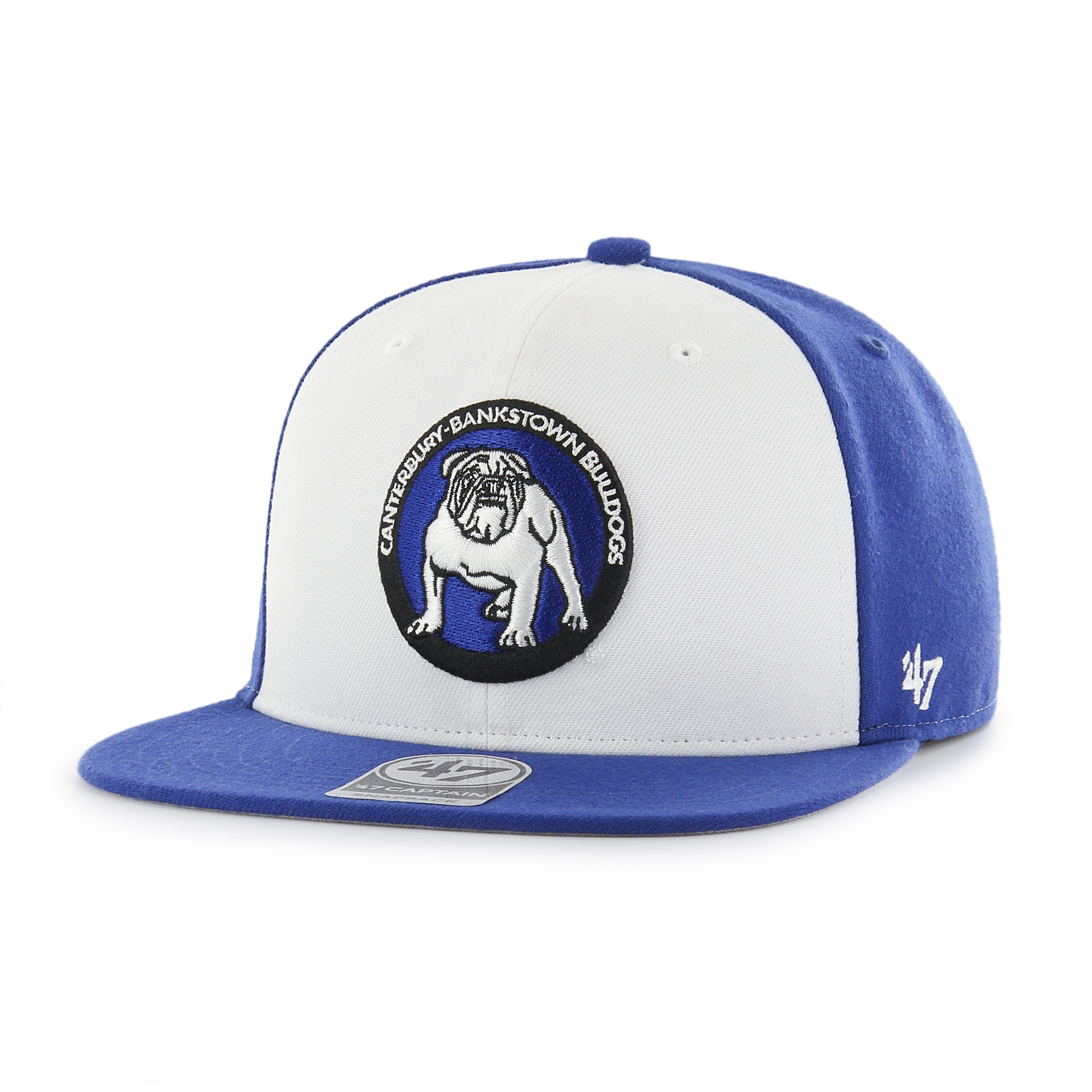 2f1fef09d70 Details about 47 Brand NRL Canterbury Bulldogs Adult Flat Brim Cap Hat  CAPTAIN (White   Blue)